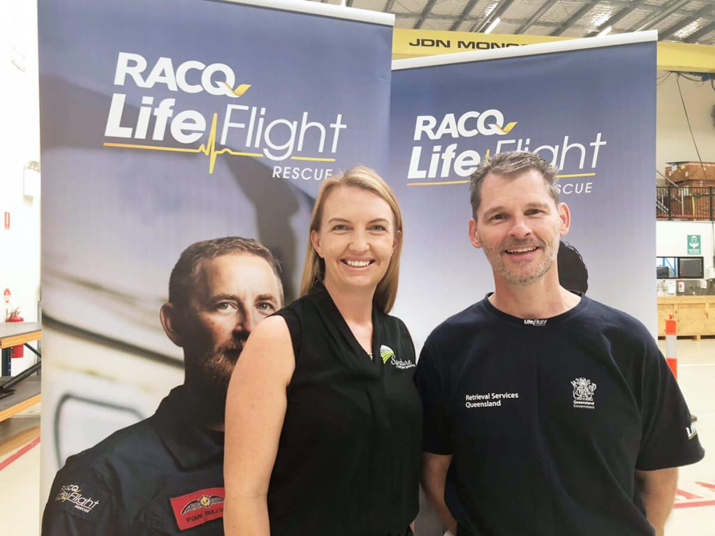 signature roofing and guttering bec owner with RACQ LifeFlight Crew Sunshine Coast